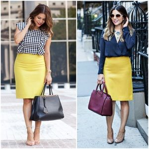 J. CREW Pencil Skirt Chartreuse Yellow Cotton 4